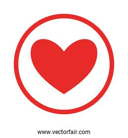 heart inside circle flat style icon vector design