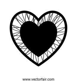 heart with crossing threads silhouette style icon vector design