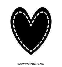 heart with lines silhouette style icon vector design