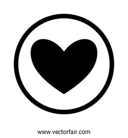 heart inside circle silhouette style icon vector design