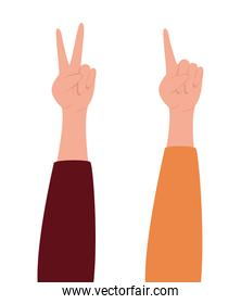 peace love and one hand vector design