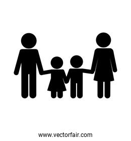 Mother father son and daughter avatar silhouette style icon vector design