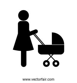 Mother with baby stroller silhouette style icon vector design