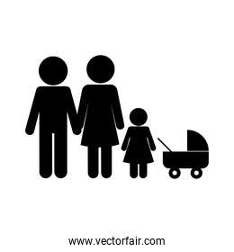 Mother father and daughter with baby stroller silhouette style icon vector design