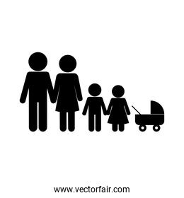 Mother father son daughter and baby silhouette style icon vector design