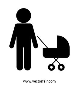 Father with baby stroller silhouette style icon vector design
