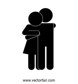 Couple of woman and man silhouette style icon vector design