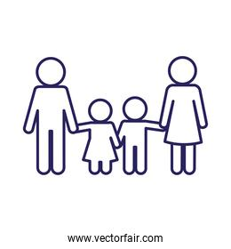 Mother father son and daughter avatar line style icon vector design