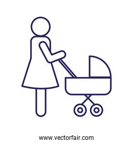 Mother with baby stroller line style icon vector illustration