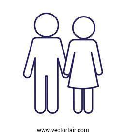 Couple of woman and man line style icon vector design