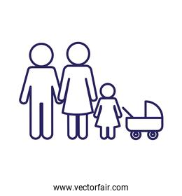 Mother father and daughter with baby stroller line style icon vector design