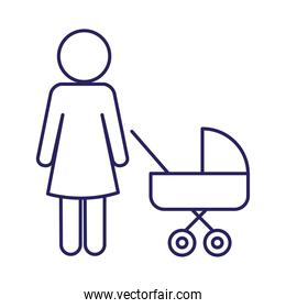 Mother with baby stroller line style icon vector design