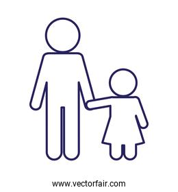 Father with daughter avatar line style icon vector design