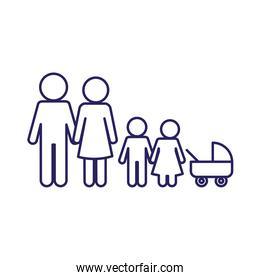 Mother father son daughter and baby line style icon vector design
