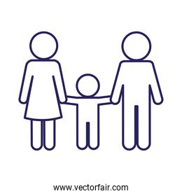 Mother father and son avatar line style icon vector design