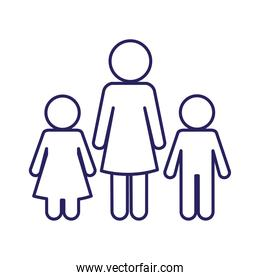 Mother with son and daughter avatar line style icon vector design