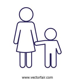Mother with son avatar line style icon vector design