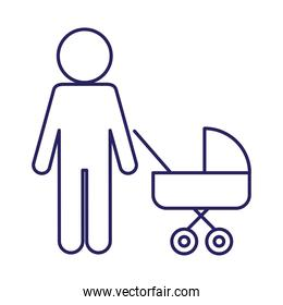Father with baby stroller line style icon vector design