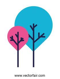 Pink and blue trees vector design