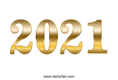 2021 gold number of happy new year vector design