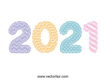 2021 number with lines and points of happy new year vector design