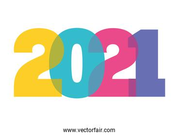 2021 multicolored number of happy new year vector design