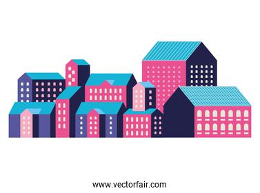 Pink blue and purple city buildings vector design
