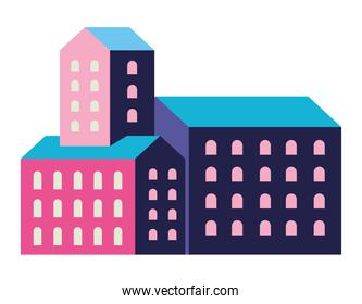 Pink and blue city buildings vector design