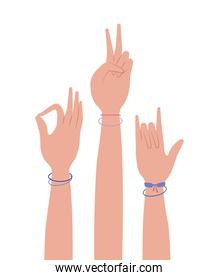 peace love okey and rock sign hand vector design