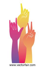 peace love one and rock sign hand vector design