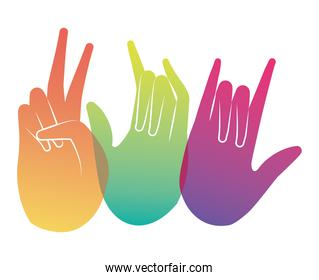 peace love and rock sign hand vector design