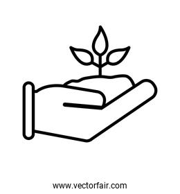 plant on hand line style icon vector design
