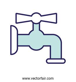 water tap line and fill style icon vector design