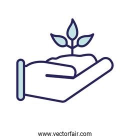 plant on hand line and fill style icon vector design