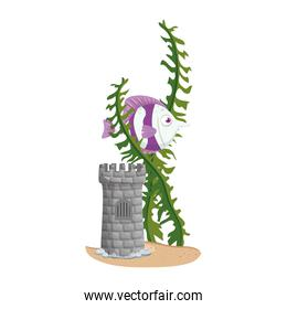 castle tower aquarium with fish and seaweed on white background