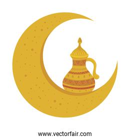 golden arabian teapot with moon, arabic culture heritage on white background