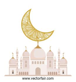 facade mosque islam structure with moon on white background