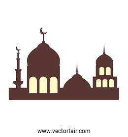 facade mosque islam structure on white background