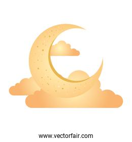crescent moon with clouds golden on white background