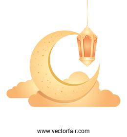 ramadan kareem lantern hanging with crescent moon and clouds golden on white background
