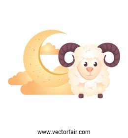 crescent moon with clouds golden and goat animal on white background