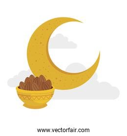 traditional arabic plate with dates fruit and moon, ramadan kareem concept