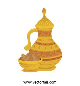 traditional arabic plate with dates fruit and teapot, ramadan kareem concept