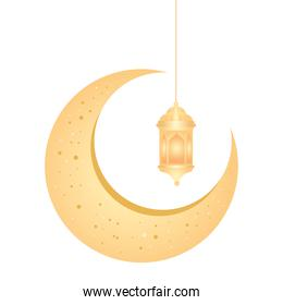 crescent moon golden hanging on white background