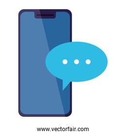 mobile phone, smartphone device with speech bubble on white background