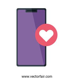 mobile phone, smartphone device with button heart on white background