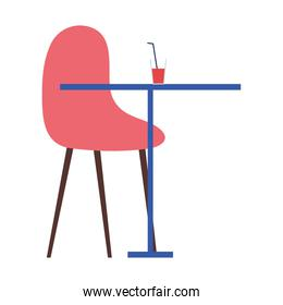 beverage in table, with chair furniture, on white background