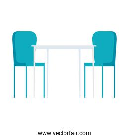 table with chairs furniture, on white background