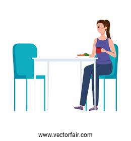 woman sitting in chair, with food in table, on white background