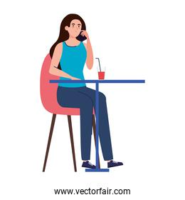 woman sitting in chair, with beverage in table, on white background